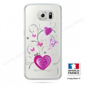 Coque Galaxy S6 Edge souple motif Cœur et papillon - Crazy Kase