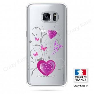 Coque Galaxy S7 souple motif Cœur et papillon - Crazy Kase