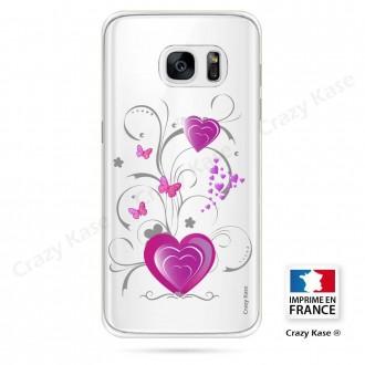 Coque Galaxy S7 Edge souple motif Cœur et papillon - Crazy Kase