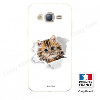 Coque Galaxy Grand Prime souple motif Chat trop mignon - Crazy Kase