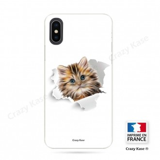 Coque iPhone X souple motif Chat trop mignon - Crazy Kase