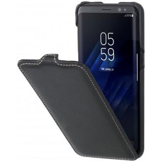 Etui Galaxy S8 UltraSlim noir grainé en cuir véritable - Stilgut