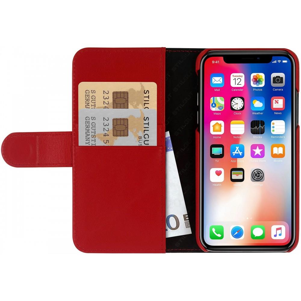 Etui iPhone Xs   X Porte-cartes rouge nappa en cuir véritable - Stilgut cfbac619f4e