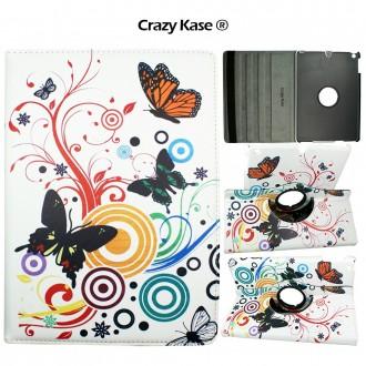 Etui iPad 5ème génération (2017) rotatif 360° motif Papillons et Cercles - Crazy Kase