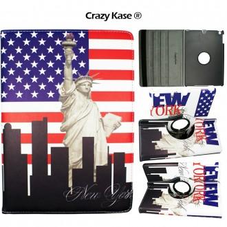 Etui iPad 5ème génération (2017) rotatif 360° motif Drapeau USA et Statue de la Liberté  - Crazy Kase