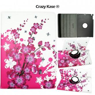 Etui iPad 5ème génération (2017) rotatif 360° motif Fleurs Japonaises - Crazy Kase