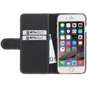 Etui iPhone 6 / 6s Porte-cartes Noir nappa en cuir véritable - Stilgut