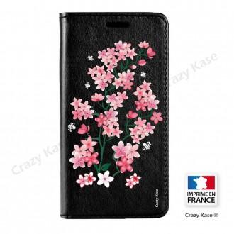 Etui iPhone SE / 5S / 5 noir motif Fleurs de sakura - Crazy Kase