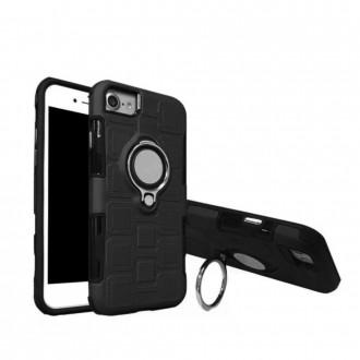 Coque iPhone 8 / 7 / 6 noire rigide avec support bague - Crazy Kase
