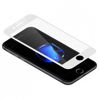 Film iPhone 8 Plus / 7 Plus protection écran verre trempé Anti-lumière Bleue contour Blanc - Baseus