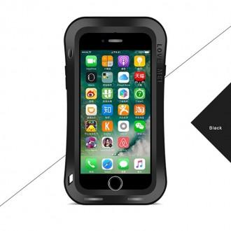 Coque iPhone 8 / 7 Etanche Antichocs Aluminium Noire - LOVE MEI