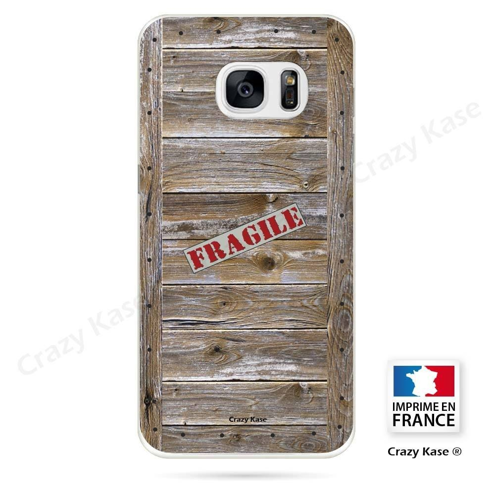 Coque Galaxy S7 Edge souple effet Caisse en bois - Crazy Kase