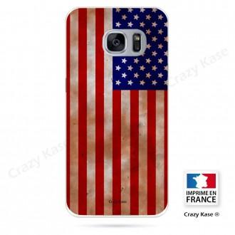 Coque Galaxy S7 Edge souple motif Drapeau Américain - Crazy Kase