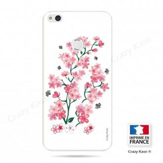 Coque P8 Lite (2017) souple motif Fleurs de Sakura sur fond blanc - Crazy Kase