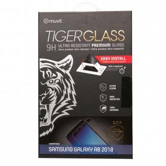 Film Galaxy A8 (2018) protection écran verre trempé incurvé avec applicateur - Muvit