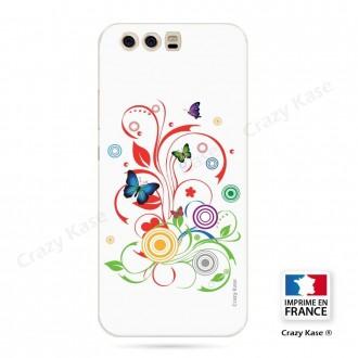 Coque Huawei P10 souple motif Papillons et Cercles sur fond blanc - Crazy Kase