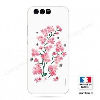 Coque Huawei P10 Plus souple motif Fleurs de Sakura sur fond blanc - Crazy Kase