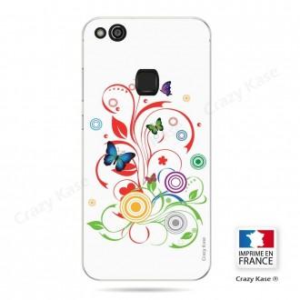Coque Huawei P10 Lite souple motif Papillons et Cercles sur fond blanc - Crazy Kase