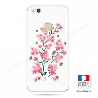 Coque Huawei P10 Lite souple motif Fleurs de Sakura sur fond blanc - Crazy Kase