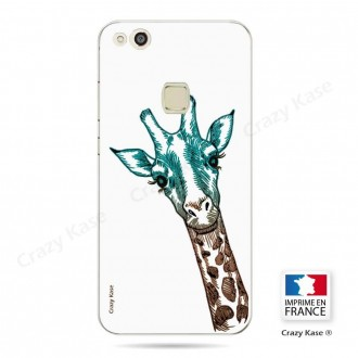 Coque Huawei P10 Lite souple motif Tête de Girafe sur fond blanc - Crazy Kase