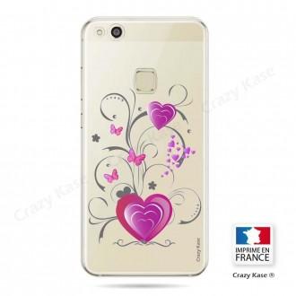 Coque Huawei P10 Lite souple motif Cœur et papillon - Crazy Kase