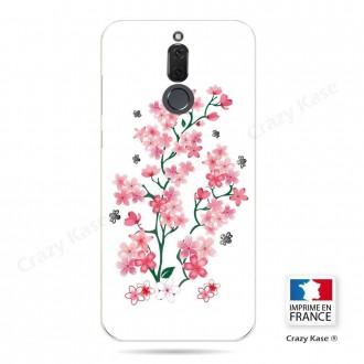 Coque Huawei Mate 10 Lite souple motif Fleurs de Sakura sur fond blanc - Crazy Kase