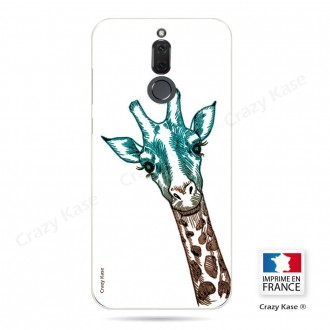 Coque Huawei Mate 10 Lite souple motif Tête de Girafe sur fond blanc - Crazy Kase