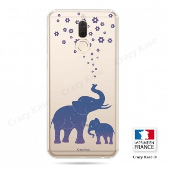 Coque Huawei Mate 10 Lite souple motif Eléphant Bleu - Crazy Kase