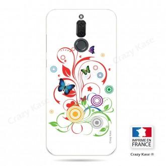 Coque Huawei Mate 10 Lite souple motif Papillons et Cercles sur fond blanc - Crazy Kase