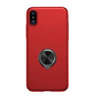 Coque iPhone X Rigide Rouge avec support bague - Baseus