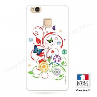 Coque Huawei P9 Lite souple motif Papillons et Cercles sur fond blanc - Crazy Kase