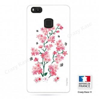 Coque Huawei P9 Lite souple motif Fleurs de Sakura sur fond blanc - Crazy Kase