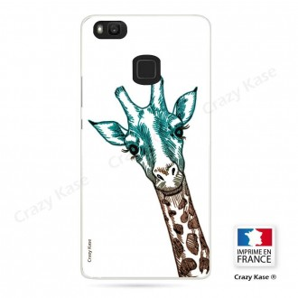 Coque Huawei P9 Lite souple motif Tête de Girafe sur fond blanc - Crazy Kase
