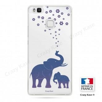 Coque Huawei P9 Lite souple motif Eléphant Bleu - Crazy Kase