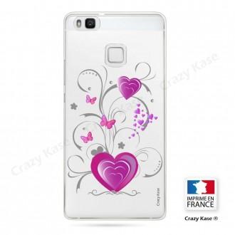 Coque Huawei P9 Lite souple motif Cœur et papillon - Crazy Kase