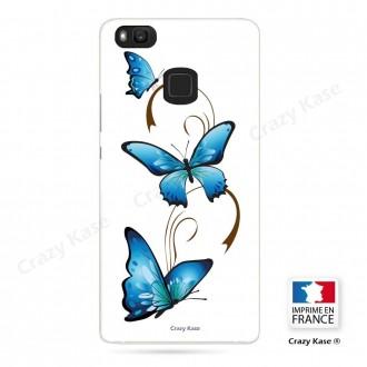 Coque Huawei P9 Lite souple motif Papillon et Arabesque sur fond blanc - Crazy Kase