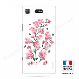 Coque Xperia XZ1 Compact souple motif Fleurs de Sakura sur fond blanc - Crazy Kase