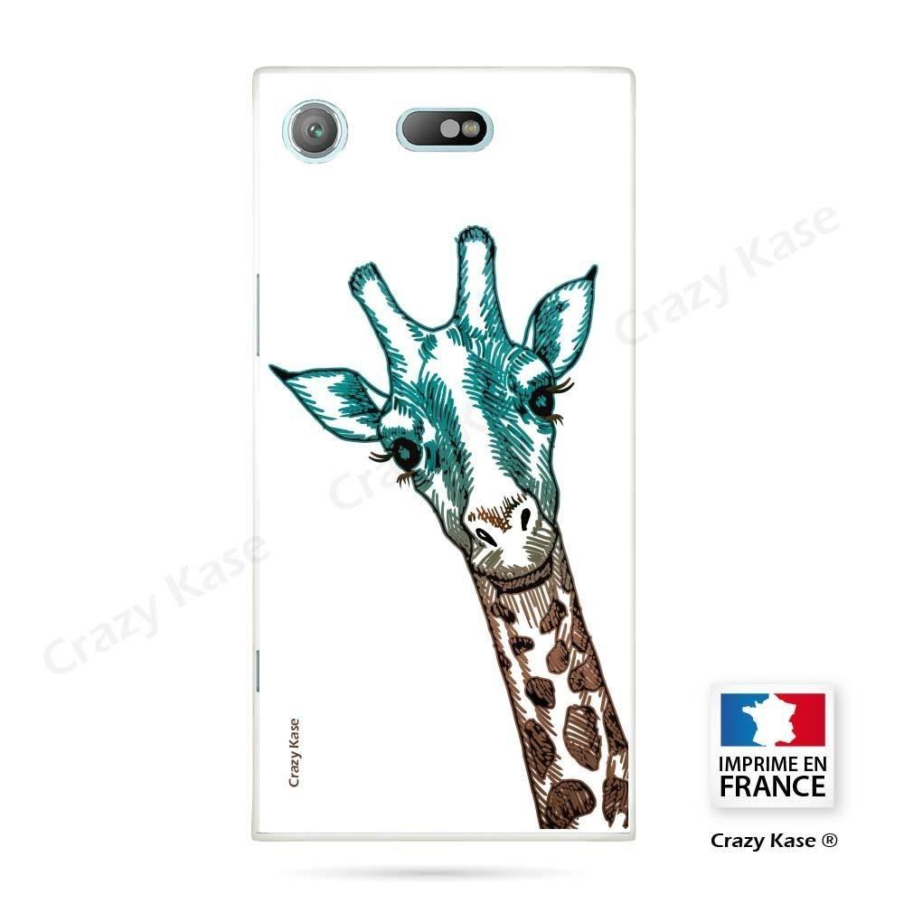 Coque Xperia XZ1 Compact souple motif Tête de Girafe sur fond blanc - Crazy Kase