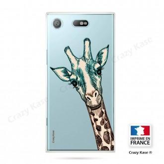 Coque Xperia XZ1 Compact souple motif Tête de Girafe - Crazy Kase