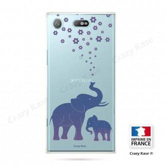 Coque Xperia XZ1 Compact souple motif Eléphant Bleu - Crazy Kase