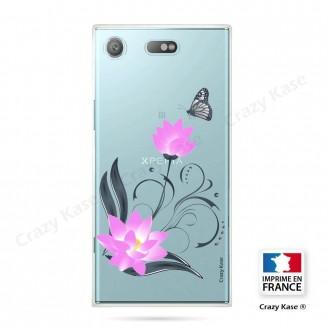 Coque Xperia XZ1 Compact souple motif Fleur de lotus et papillon- Crazy Kase