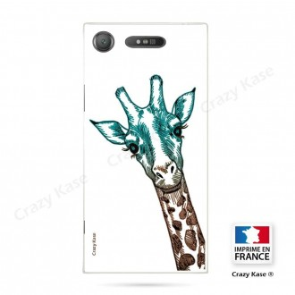 Coque Xperia XZ1 souple motif Tête de Girafe sur fond blanc - Crazy Kase