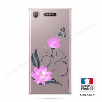 Coque Xperia XZ1 souple motif Fleur de lotus et papillon- Crazy Kase