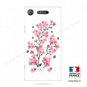 Coque Xperia XZ1 souple motif Fleurs de Sakura sur fond blanc - Crazy Kase