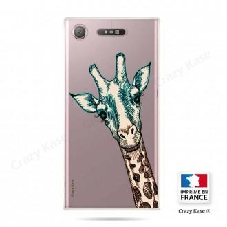 Coque Xperia XZ1 souple motif Tête de Girafe - Crazy Kase