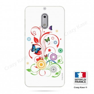Coque Nokia 6 souple motif Papillons et Cercles sur fond blanc - Crazy Kase