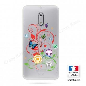 Coque Nokia 6 souple motif Papillons et Cercles - Crazy Kase