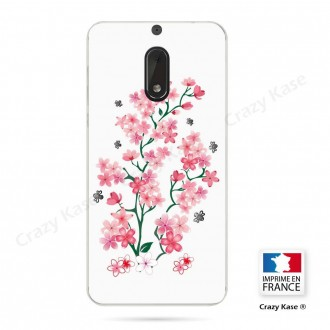 Coque Nokia 6 souple motif Fleurs de Sakura sur fond blanc - Crazy Kase