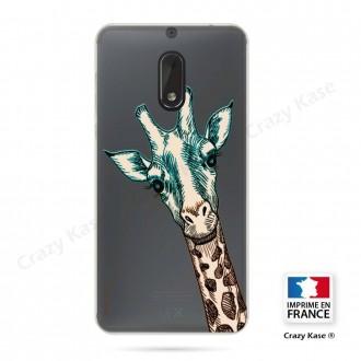 Coque Nokia 6 souple motif Tête de Girafe - Crazy Kase