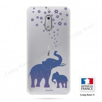 Coque Nokia 6 souple motif Eléphant Bleu - Crazy Kase